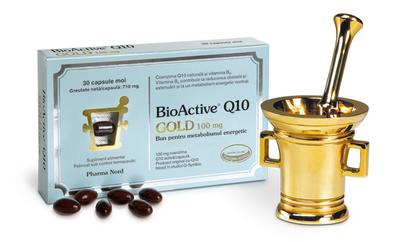 Produsul BioActive Q10 Gold, de la Pharma Nord, cu coenzima Q10